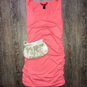 DRESS• bodycon— salmon and ruched